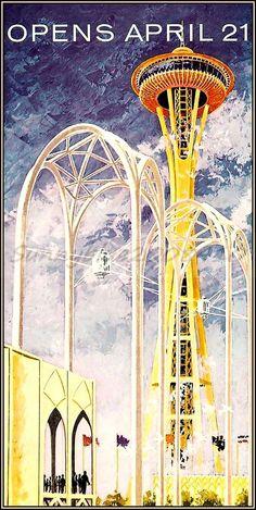 Seattle WA. Worlds Fair 1962 Century 21 Vintage Poster Art Print Space Needle  $18.75  ebay.de