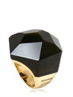 Jil Sander Black Obsidian Gold Ring Spring Summer 2011