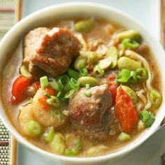 Pork and Edamame Soup -   diabetic living recipe