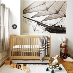 In cool khaki, The Land of Nod's In the Mix Bedding ($29-$49) lets you mix and match dots and stripes to build the perfect set for your nursery.