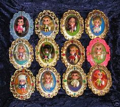 A dazzling collection of Lucky Locket Kiddles! I loved Little Kiddles and had two in this series: Lois Locket (the only black doll) and Larky Locket, a baby doll.