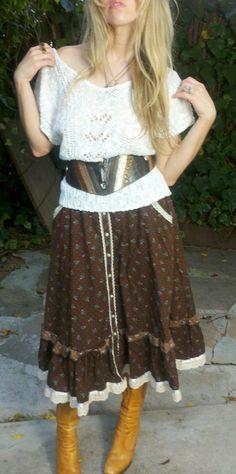 Jessie Get Your Gun Brown Gunne Sax Vintage 70s Floral Skirt. $32.00, via Etsy.