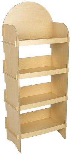 Four Shelf Wooden Display with Interlocking Panels