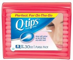 Q, Tips Cotton Swabs, 30 ct., Travel Size Purse ct (Quantity of 5) by Q-Tips. $11.24. It's portable size allows for convenient storage in your purse or at your desk for quick makeup application or removal anytime, anywhere. Q Tips Cotton Swabs Purse Pack for Makeup Application is perfect for safely, precisely applying, blending, touching up and removing cosmetics.. Q Tips Cotton Swabs Purse Pack for Makeup Application are made with 100% pure cotton.. Product Description Purse pac...