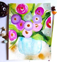 Flowers Watercolor Ink Bouquet Painting by CelineArtGalerie, €45.00
