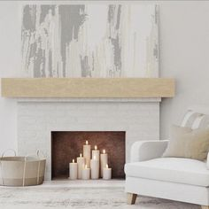 Rustic Fireplace Mantels, Empty Fireplace Ideas, Simple Fireplace, Brick Fireplace Makeover, Wood Mantels, Living Room With Fireplace, Fireplace Design, Diy Faux Fireplace, Mantle Ideas