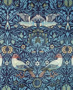 William Morris Blue Birds Tapestry Design Floral Vintage Fine Art Print