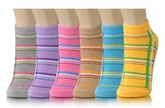 Pastel Classic Plaid Style Ankle Socks (6 pack) - Womens Low Cut Socks (Size 9-11) by Yelete. $12.99. Plaid stripes in fun pastel colors add some kick to your feet! Spandex band around the ankles ensure no slip protection. Comes in assorted colors, package includes 6 pairs.  95% polyester, 5% spandex