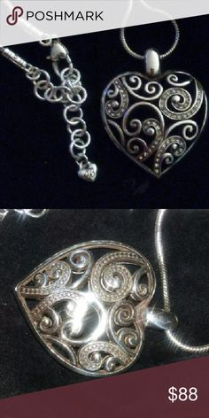 Brighton Reversible Heart Pendant & Necklace beautiful scroll work one side has bling bling and the otjer side does not. both sides pictured Brighton Jewelry Necklaces