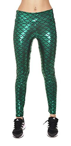 Ladies High Waist Skinny Tight Pants Shiny Mermaid Leggings Club Wear Green M ** Click on the image for additional details.(This is an Amazon affiliate link and I receive a commission for the sales)