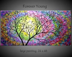 Large Abstract Tree Painting Modern by jmichaelpaintings on Etsy, $199.00