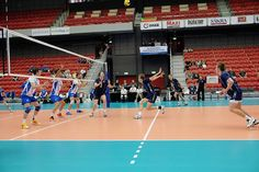 Image 1 Norway attacks against Greece. Volleyball, Norway, Sweden, Greece, Basketball Court, Sports, Image, Greece Country, Hs Sports