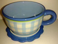 Kimberly Hodges Hallmark Coffee Cup Mug with Saucer Lid Blue