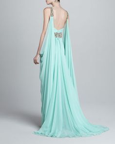 Marchesa Couture Deep-V Beaded Chiffon Gown Beaded Chiffon, Chiffon Gown, Greek Goddess Dress, Marchesa, Sexy Dresses, Neiman Marcus, Gowns, Couture, Alter Ego