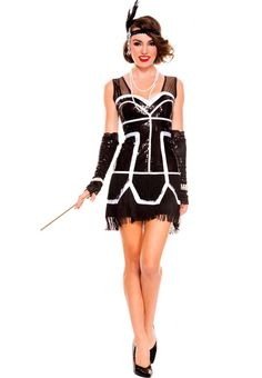 84a8f3b5ef Sexy Music Legs Black White Sequins Flapper Fever Dancer Burlesque Roaring  1920 s Twenties Party Halloween Costume