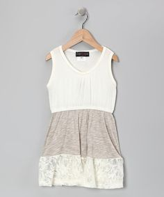 Take a look at this Ivory Lace Dress - Girls by Zoe on #zulily today!