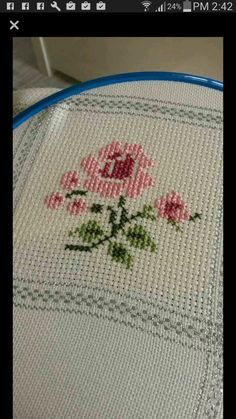 This Pin was discovered by Gül Cross Stitch Love, Cross Stitch Borders, Cross Stitch Flowers, Cross Stitch Designs, Cross Stitching, Cross Stitch Patterns, Crochet Patterns, Ribbon Embroidery, Cross Stitch Embroidery