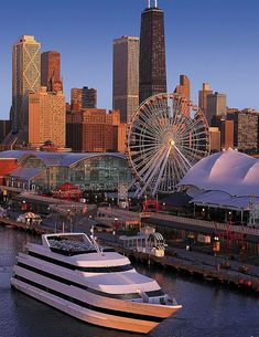 A great view of the city skyline behind Navy Pier