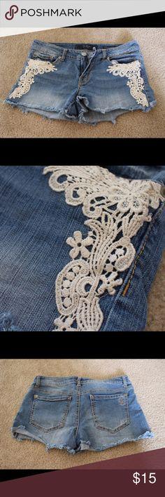 Jessica Simpson Lace Jean Short Super cute lace detail! Has a little stretch. Very comfy! Jessica Simpson Shorts