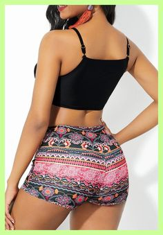 Spaghetti Strap Tribal Print Lace Up Front Bikini Set Bikini Girls, Bikini Set, Strap Bikini, Bandeau Bikini, Most Beautiful Black Women, Blue Jean Dress, Surfer Girl Style, Cute Swimsuits, Swimwear Fashion