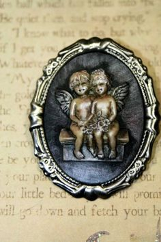 Angels or Baby Fairies to Watch over You Victorian Style Cameo Brooch  | shadesongs - Jewelry on ArtFire