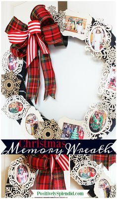 Christmas Memory Photo Wreath - Such a great decor idea to use favorite holiday photos from throughout the years! #PlaidCreators #ad