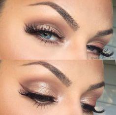 make up eye eyeliner wing soft brown gold bronze shimmer false lashes brows on…