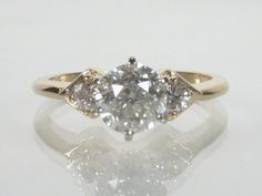 Vintage Old European Cut Diamond Engagement Ring - 1.40 Carats Diamond Total Weight - Appraisal Included
