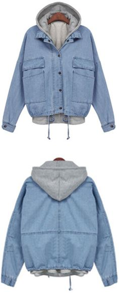 Love this boyfriend Blue Hooded Drawstring Denim Parkas Coat .Two Pieces Outerwear is the best come from blue and grey color .Click and find more jeans denim coat at romwe .com.