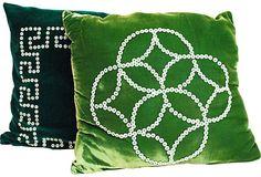 Velvet & Button Pillows, Pair $199  Love the jewel tones and greek key design!