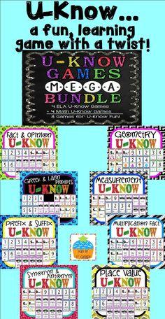 U-Know BUNDLE (played like UNO)...4 ELA games and 4 Math games!!  $
