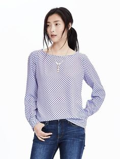 Long-sleeve printed fold cuff short in light blue XS 100% polyester. Machine wash. Imported. 78.00
