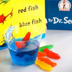 Dr.Seuss Themed Treats: one fish two fish red fish blue fish jello cups
