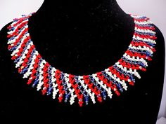 Blue-red-white colors beadwork choker beadwrok by Evasjewelery Beaded Statement Necklace, Beaded Jewelry, Diy Jewelry, Beading Ideas, Beading Patterns, White Colors, Handmade Beads, Collar Necklace, Eminem