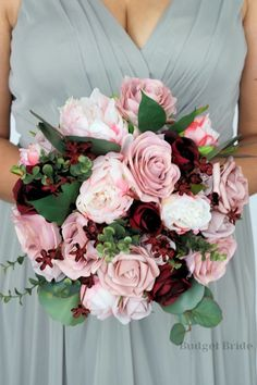 Beautiful Cascading Brides bouquet with mauve, blush pink, rose gold, burgundy and wine roses, peonies and cherry blossoms accented with seeded eucalyptus Peony Bouquet Wedding, Blush Wedding Flowers, Dusty Rose Wedding, Blush Pink Weddings, Pink Bouquet, Bride Bouquets, Cherry Blossom Wedding, Cherry Blossom Bouquet, Cherry Blossoms