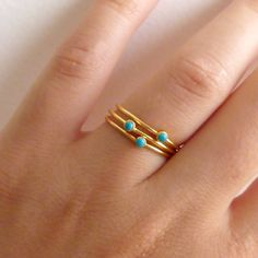 Thin Turquoise Rings - Stacking Rings