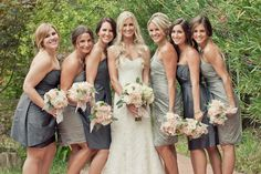 love the different dresses within the same texture but long.   gray bridesmaid dresses