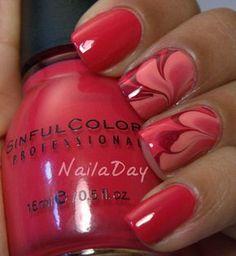 Red water marble nails #nailart More