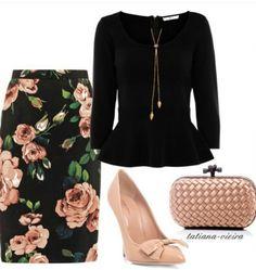 Pencil skirt Floral & black