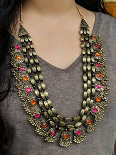 Indian jewelry, traditional jewelry, multistrand Dholki necklace studded with glass stones Traditional Indian Jewellery, Silver Jewellery Indian, Silver Jewelry, Silver Ring, Silver Earrings, Traditional Earrings, Traditional Fashion, Gold Jewellery, Necklace Set