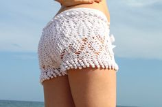 Exclusive white crochet beach shorts ♥ by LecrochetArt on Etsy, $110.00