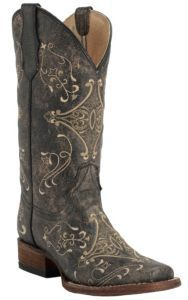 Corral Circle G Women's Vintage Black w/Cream Embroidery Square Toe Western Boots | Cavender's