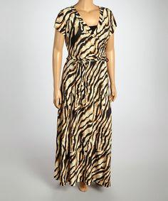 Another great find on #zulily! Black & Brown Zebra Surplice Dress - Plus #zulilyfinds