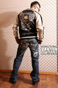 anch-crash: You can buy it only here! Our store comment VANSON バンソンスカル embroidery reversible ska Jean skeleton wing fire American casual bikie men jacket Father's Day present American Casual, Us Store, Fathers Day Presents, Satin Jackets, Global Market, Skeleton, Wings, Fire, Embroidery