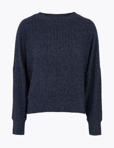 Cosy Lounge Rib Sweatshirt | M&S Collection | M&S Cosy Lounge, Lounge Wear, Silk Slip, Nightwear, Women Wear, Men Sweater, Pullover, Sweatshirts, Long Sleeve