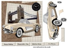 Male card  1950s  Car by Marijke Kok Great male card for any occasion in vintage style.