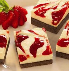 Recipe for Strawberry Cheesecake Brownies - Get the great taste of yummy strawberry cheesecake on top of a chewy, chocolatey brownie for an easy, crowd-pleasing treat.