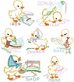 Days of the Week Ducklings embroidery dish towels, flour sack towels, hand towels, tea towels – dressempty Hand Embroidery Stitches, Hand Embroidery Designs, Vintage Embroidery, Embroidery Techniques, Embroidery Applique, Hand Stitching, Dish Towels, Tea Towels, Hand Towels