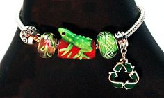 Eco Chic Bracelet Featuring Frog Bead and Recycle by EcoMusings, $34.99