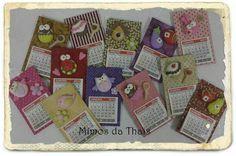 Mini calendários imãs de geladeira - by Mimos da Thais